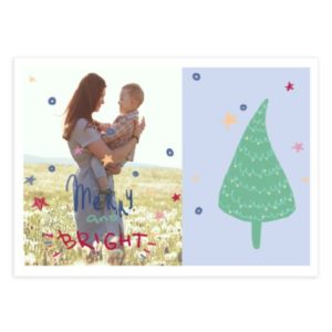Merry and Bright Christmas card template for photographers