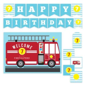 Kids birthday party printable set with firetruck theme