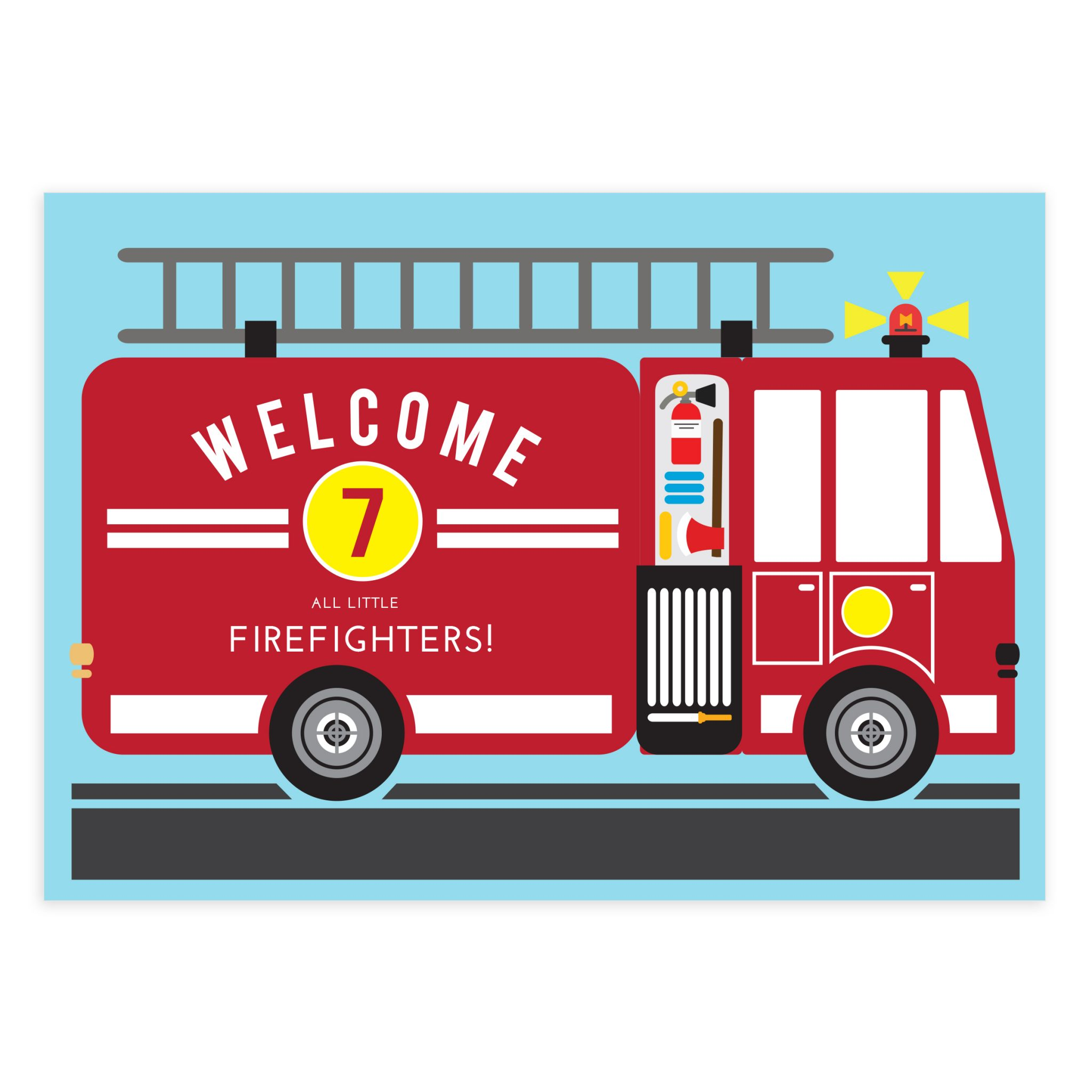 - Fire Truck Birthday Card Printables And Banners - Mockaroon