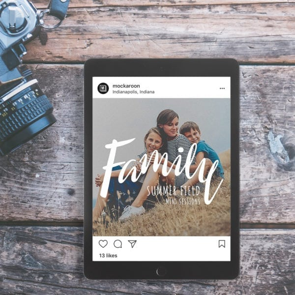 family summer mini session marketing board template for photographers