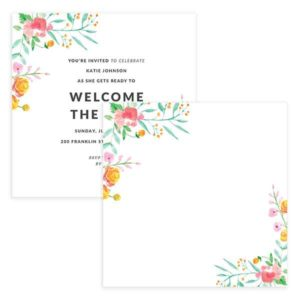 floral baby shower invitation template for DIY Moms