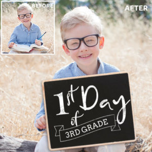 1st day of school chalkboard sign overlays for photos