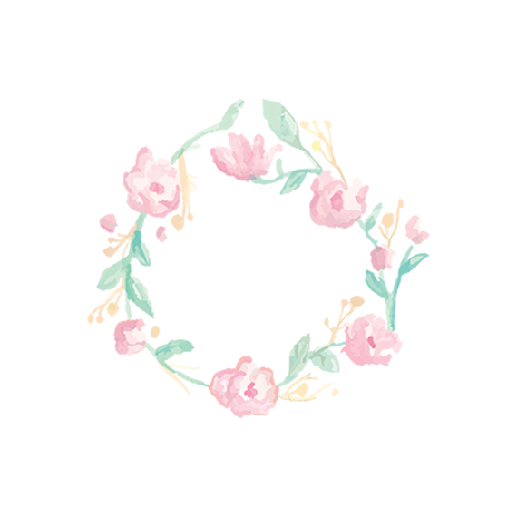Flower Border in Watercolor Style