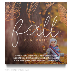 Fall portraits template PSD format