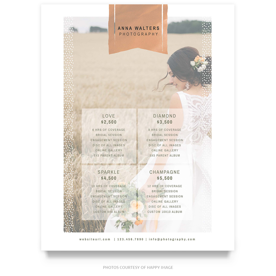 Rose Gold Wedding Price Guide Template