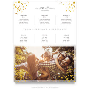 family session price guide template
