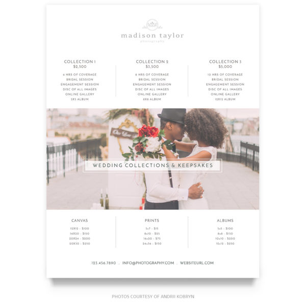 Simple Wedding Price Guide Template