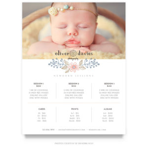 newborn price guide template