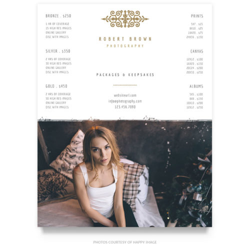 vintage style portraits pricing guide template