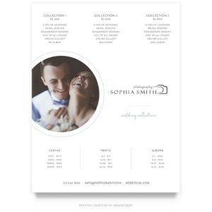 modern wedding portraits price guide template