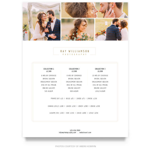 wedding photography price guide template