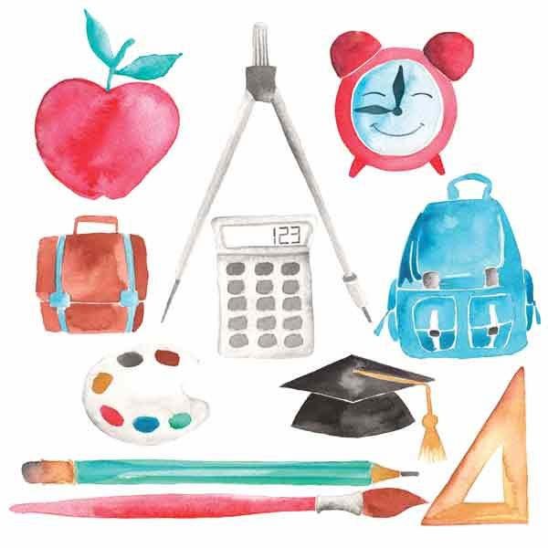 Back to school design elements used by designers and digital scrapbooking