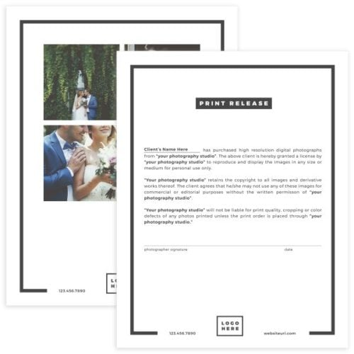 photography print release form template