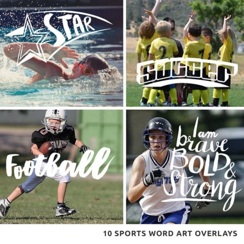 sports word art overlays