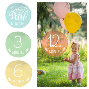first year milestone photo overlays for newborn to 12 months