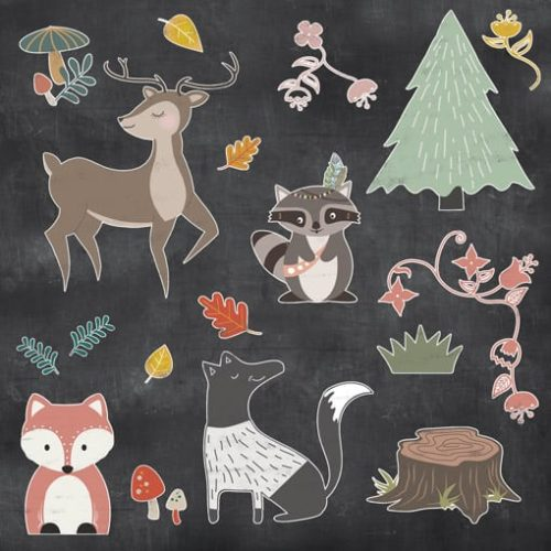 forest animal chalk overlays