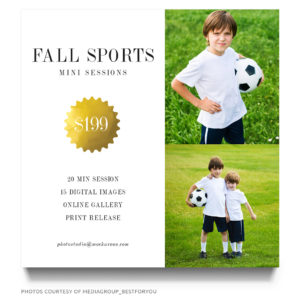 fall sports mini session marketing board