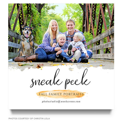 fall family portraits marketing board