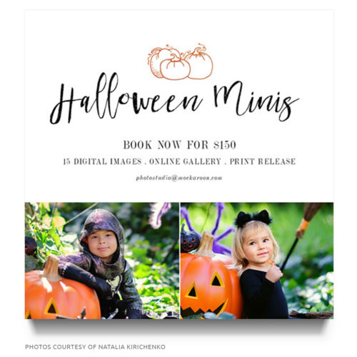 halloween mini session marketing board