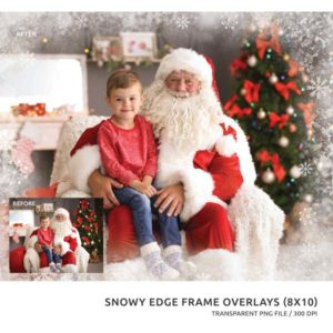 holiday snow edge frame overlay