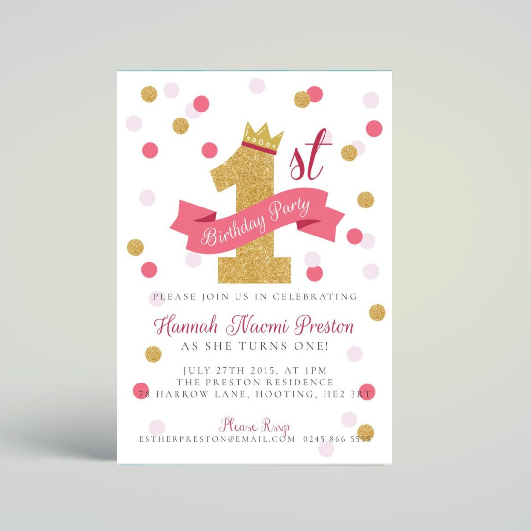First Birthday Invitation Template For Photoshop Mockaroon