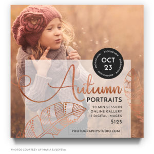 autumn portraits marketing board photoshop template