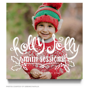 word art holiday mini session marketing board template