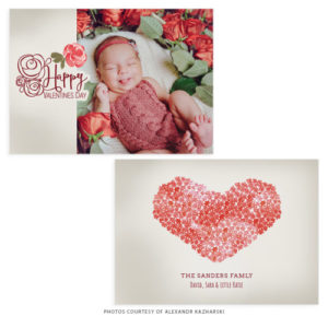 Newborn Valentines Day Card Template for a Photographer
