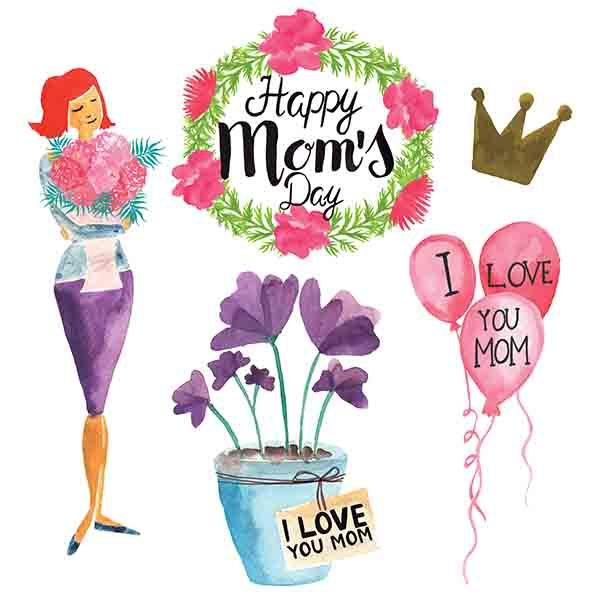 Mothers Day Watercolor Element