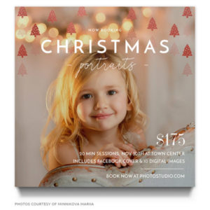 Christmas portraits ad template for photo sessions