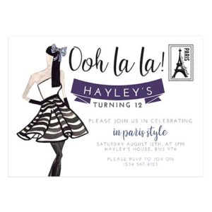 Paris Birthday Party Invitation Card 5X7