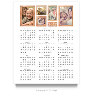 2019 16x20 Photo Collage Wall Calendar PSD Template