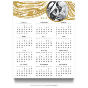 Gold Photo 2019 Calendar Template