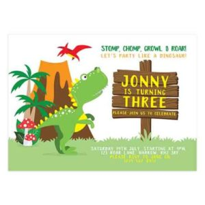 dinosaur invitation template for Photoshop and DIY