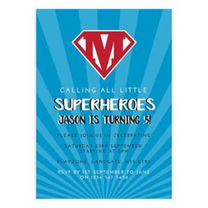 Superhero Birthday Invitation Card Template