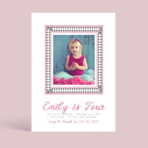 Pink Frame Girls Birthday Party Invite Template