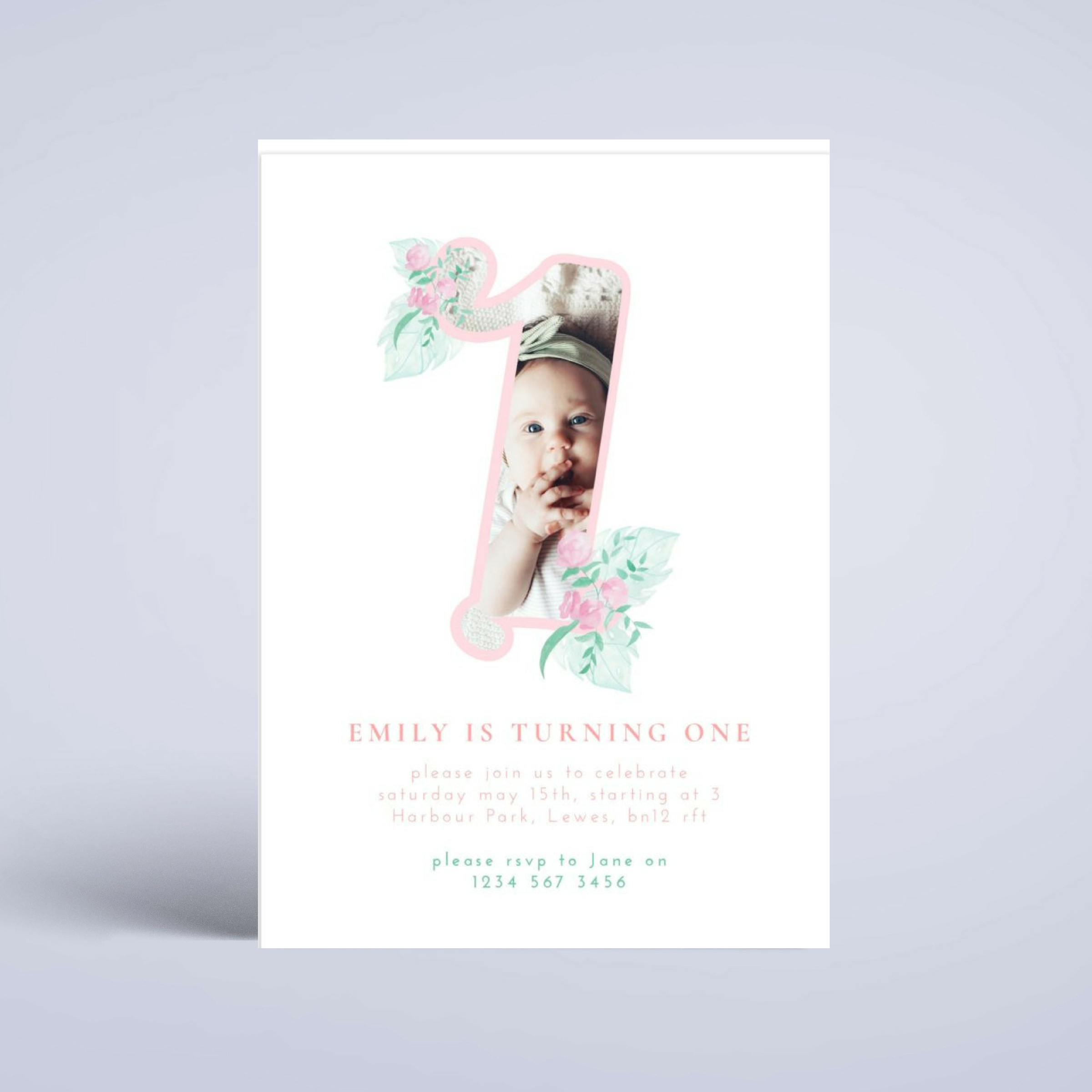Floral One Birthday Invitation 5X7