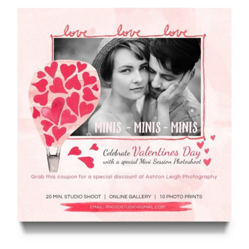 Valentines Day Mini Session Marketing Template for Photographers