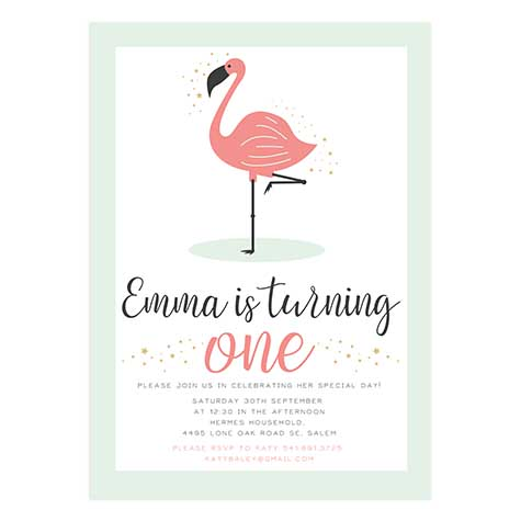 Flamingo Party Birthday Invitation 5x7