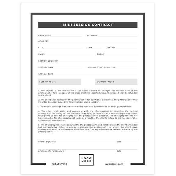 mini session contract template for photographers