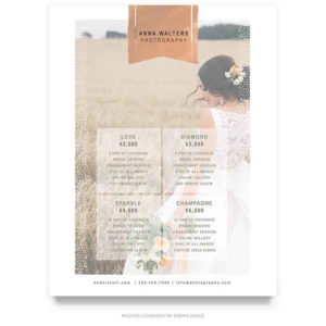 Wedding Price Guide Template in Rose Gold design style