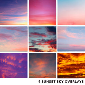 Sunset Sky Overlays for Photographers and Creatives in High Res JPEG form