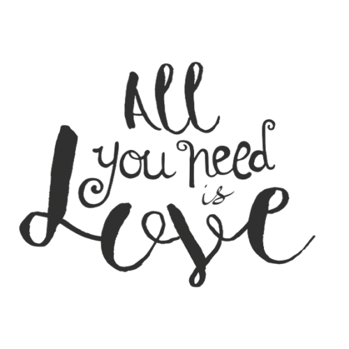 All you need is love phrase word art png