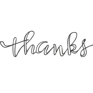 Thanks Script Word Art PNG