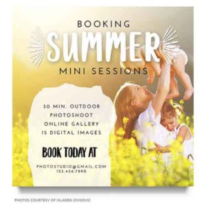 summer photography marketing board