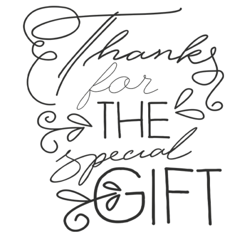 Thanks for the Gift Word Art in Transparent PNG Format