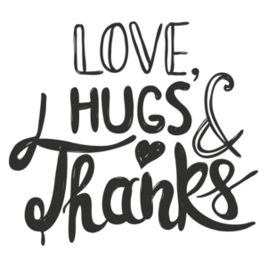 Love and Thanks PNG Word Art