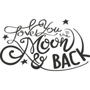 love you to the moon and back png word art
