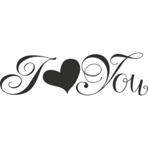 I Love You Word Art PNG File type