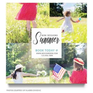 summer minis marketing board for Photographers